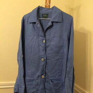 Lauren Ralph Lauren Womens Large Blue 100% Linen